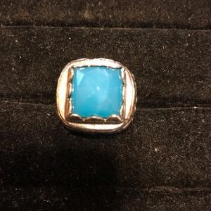 Jewelry - Maldives color blue stone silver ring gorgeous